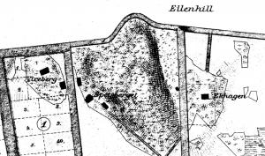 Del av karta från 1951 med Ekhagens torp inritat. Låg vid lekplatsen mellan Vårvägens och Sommarvägens gård. Den stora vägen till vänster åt söder var vägen till Huvudsta. Borta i dag. Upptill dåvarande Hagavägen, i dag Ekensbergsvägen. Ekhagen började kallas Ekensberg vid 1800-talets slut.