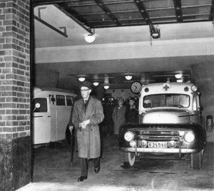 Solna-Sundbybergs brandstation. Interiörbild i samband med invigningen 1961.