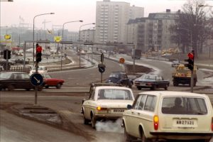 Vy av Vireberg och Frösundaleden. Tidigt 1970-tal.