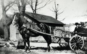Det fanns en hästgård med lada en bit ut mellan där Vårvägen 5 och 7 ligger. Bland annat forslades mjölk från gården till olika beställare i omgivningarna. Ladan ska ha varat ända fram till 1957 då det användes som arbetarbarack under byggandet av brandstationen. Fotot är taget mellan Vårvägen 5 och 7, en bit ut i riktning mot brandstationens vänstra del.