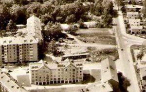 Del av översiktsbild 1955. Bild av den gamla vägen till Ekensbergs gård från Hagavägen (nuv. Ekensbergsvägen). Dnna väg gick genom där entrén till Vårvägen 3 är i dag.