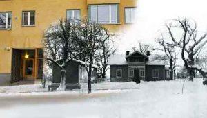 """Vårvägen-husets position i förhållande till år 1954 rivna Ekensbergs gård. Den vänstra lilla flygelbyggnaden kallades för """"mjölkboa"""". Där brukade ägarinnan Fru Nyberg sälja mjölk till omkringboende. Mjölkboa låg till höger om porten till Vårvägen 3 och nådde ut en bit på gatan. Jämför karta nedan."""