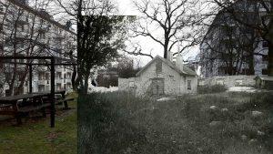 FOOTOMONTAGE: En bit framför där lekplatsen är i dag låg Ekhagens torp som revs i början an 1920-talet.