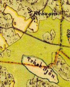 Kartfragment från 1851. Finns i Solna stads kartregister. Upptill ser vi Hagavägen böj ovanför där Ekhagens torp var belägen. Torpet låg alldeles framför lekplatsen på Vårvägens gård.