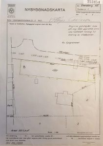 Nybyggnadskarta från 1953. Enda påträffade kartan som visar rivna Ekensbergs gård i relation till kommande Vårvägen-huset. Till vänster (lodrät) ser man olika lador/ekonomibyggnader.