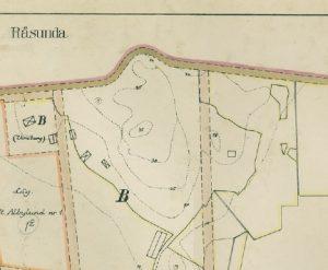 Karta från 1923. Den lilla fyrkanten till höger är Ekhagens torp från 1700-talet som revs på 1920-talet. Där uppfördes Ekensbergs nya gårdsbyggnad som existerade fram till 1954. Till vänster, upptill, ser vi Virebergs gård som låg på andra sidan berget. Vireberg kom att bli namnet för hela området i samband med det intensiva byggandet som började i början av 1950-talet.
