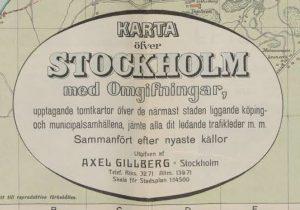 Stockholm med omgifningar, upptagande tomtkartor öfver de närmast staden liggande köping- och municipalsamhällena, jämte alla dit ledande trafikleder m. m., 1906.