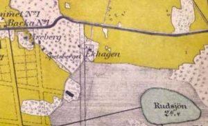 Karta 1909. Utbredningen till höger om Ekhagens torp av Ekhagens hage eller Ekensbergs hage syns på denna karta.