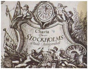 """Karta från 1751 """"Charta Öfwer Stockholms Stads Belägenhet""""."""