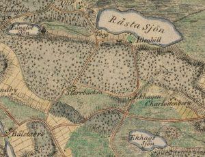 Karta från 1817. Området kring Ekhagens torp kallas då för Ekhagen.
