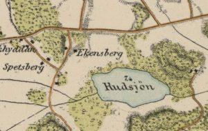 Stockholmskarta i IX blad 1861. Utsnitt av blad V. Militärkarta utförd av Topografiska Corpsen. Här dyker namnet Ekensberg upp.