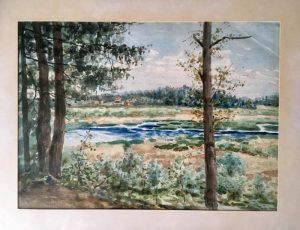 Målning, från Slaktarbacken mot Rudsjön år 1909. I mitten av bilden ser vi Ekensbergs gård.